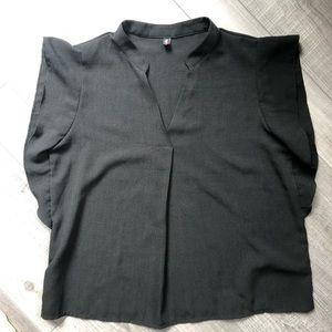 Tops - Modern Black Ruffle Sleeve Top Small